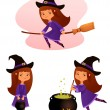 Illustration of a cute small witch girl suitable for Halloween holidays — Stock Vector #31173875