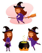 Illustration of a cute small witch girl suitable for Halloween holidays — Stock Vector