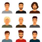 Cartoon illustration of a handsome young man with various hair style and beard — Stock Vector