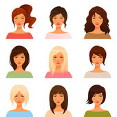 Cute illustrations of beautiful young girls with various hair style — Stock Vector