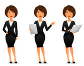 Cute cartoon illustration of a beautiful business woman in various poses — Stock Vector