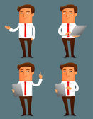 Funny cartoon illustration of a young business man in various poses — Stock Vector