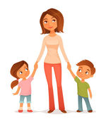 Cute cartoon illustration of a young mother with two children, holding hands — Stock Vector