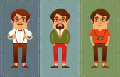 Funny cartoon guys dressed in hipster fashion style — Stok Vektör