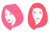 Simple line illustration of beautiful women suitable for hair care or beauty salon — Stock Vector