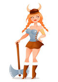 Cartoon illustration of a funny and sexy viking girl — Stock Vector