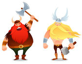 Funny cartoon illustration from Scandinavian history - a furious viking warrior and the ancient god Thor — Stock Vector