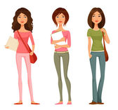 Cute cartoon illustration of teen or tween student girls — Stock Vector