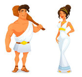 Ancient hero Hercules and a beautiful Greek goddess — Stock Vector