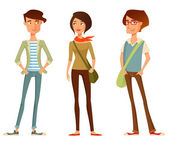 Cute cartoon illustration of young people in stylish hipster clothes — Stock Vector