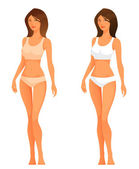 Illustration of a beautiful young woman with slim healthy body in underwear — Stock Vector