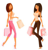 Cute young women on a shopping spree — Stock Vector