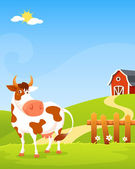 Cute cartoon illustration of a happy cow on a farm, with wooden fence and barn — Stock Vector
