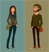 Cartoon illustration of young people in hipster fashion style — Stock Vector