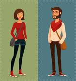 Cartoon illustration of young people in hipster fashion clothes — Stock Vector