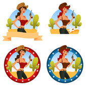 Collection of cute cartoon illustrations of a cowgirl, in a few design variations — Stock Vector