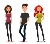 Cute cartoon illustration of young people — Stock Vector
