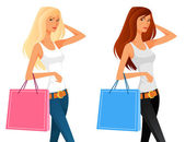 Stylized illustration of a beautiful young girl shopping — Stock Vector