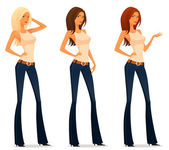 Illustration of a beautiful girl in flare jeans, with various hair color — Stock Vector