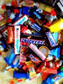 Candies, snikers. mars. bounty. Halloween — Stock Photo