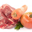 Sliced steak with carrot rosemarine and tomato — Stock Photo