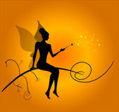 Silhouette of magic fairy — Stock Vector