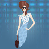 Shopping lady with bag — Stock Vector