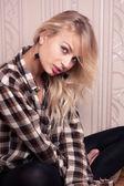 Beautiful girl portrait indoor — Foto de Stock