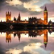 Famous Big Ben in the evening with bridge, London, England — Stock Photo #13157228