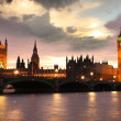 Famous Big Ben in the evening with bridge, London, England — Stock Photo #13157241