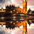 Famous Big Ben in the evening with bridge, London, England — Stock Photo #13157310