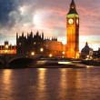 Famous Big Ben in the evening with bridge, London, England — Stock Photo #13157346