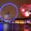 London with London eye and firework, England — Stock Photo