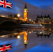 Famous Big Ben in the evening with bridge, London, England — Stock Photo