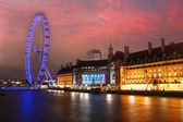 London morning. London eye, County Hall, Westminster Bridge, Big Ben and Houses of Parliament. — Stock Photo