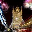 Tower bridge with firework, celebration of New Year in London, UK — Stock Photo #13163373
