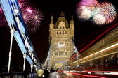 Tower bridge with firework, celebration of the New Year in London, UK — Stock Photo
