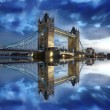 Tower Bridge with boat on river in London, UK — Stock Photo