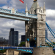 London, Tower Bridge with flag of England — Stock Photo