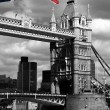 Stock Photo: London, Tower Bridge with flag of England