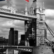 London, Tower Bridge with flag of England — Stock Photo #16784555