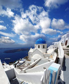 Santorini island with churches and sea view in Greece — Stock Photo