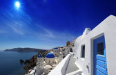 Amazing Santorini with churches and sea view in Greece — Stock Photo