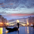 Venice, Rialto bridge and with gondola on Grand Canal, Italy — Stock Photo #16800511