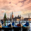 Venice with gondolas on Grand Canal against San Giorgio Maggiore church — Stock Photo