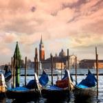 Venice with gondolas on Grand Canal against San Giorgio Maggiore church — Stock Photo #16800707