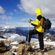 Nordic walking in high mountains — Stock Photo
