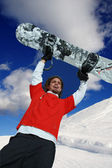 Happy snowboarder in high mountain — Stock Photo