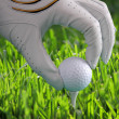 Golf glove with ball on tee — Stockfoto