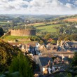 Panorama of Totnes with castle, Devon, England - Foto Stock